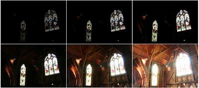 Repare em todas as tentativas de luminosidade (abertura da câmera). Em todas, as fotos não ficam 100%, o lado interno fica muito escuro ou o externo fica muito claro.